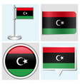 Libya flag - sticker button label flagstaff vector image vector image