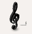 3d isometric pixel art violin clef icon made of vector image