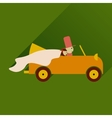 flat icon with long shadow bride and groom in car vector image