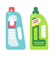 Plastic bottles of cleaning products household vector image