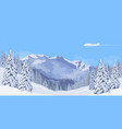 airplane flying in a blue sky snow mountain winter vector image