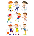 Children playing different sports vector image