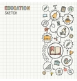 Education hand draw integrated icons set on paper vector image