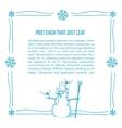 Hand drawn snowman frame vector image