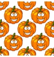Happy smiling fresh pumpkin seamless pattern vector image