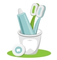 Tooth Toothpaste Dental Floss Toothbrush vector image
