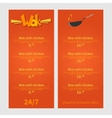Wok menu Template menu of wok restaurant Flat vector image