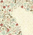 vintage floral background with decorative flowers vector image