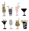Set of hand drawn alcoholic cocktails with vector image