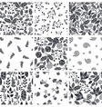 Set Of Nine Black and White Floral Seamless vector image