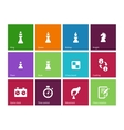 Playing chess icons on color background vector image