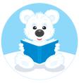 Polar bear cub reading a book vector image