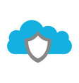 cloud computing with shield vector image