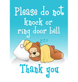 Do not knock sleeping bear 1 vector image