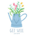 get well soon floral card vector image