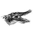 Hand sketch crocodile head vector image