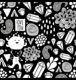 seamless pattern with strange creatures in black vector image