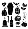 set of grunge halloween graphic elements black vector image