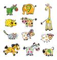 set of childish fruity animals vector image
