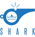 whistle with shark fin of rescuer on the beach vector image