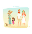 people on the beach family surfer friends vector image