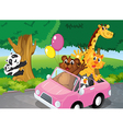 Bears climbing and a pink car full of animals vector image