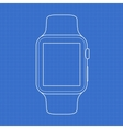 smartwatch line icon on blue background vector image