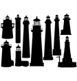 lighthouse silhouettes vector image