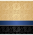 floral decorative seamless background blue ribbon vector image