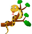 cartoon brown snake on branch vector image