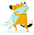 cat and dog are hugging friendly pets vector image