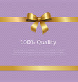 100 quality sale certificate card design ribbon vector image