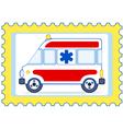 Ambulance postage stamp vector image vector image