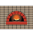 oven with burning fire vector image