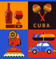 icon set of cuba havana vector image
