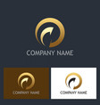 gold round arrow abstract company logo vector image
