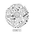 Make up and cosmetics in a circle design vector image