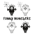 Contour and Silhouette Monsters Set vector image
