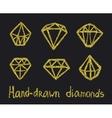 set of golden diamonds vector image