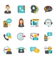 Support contact call center icons set vector image