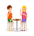 two girl sit and drink coffee vector image