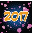 New year 2017 pop art background vector image