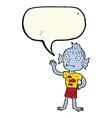 cartoon waving fish boy with speech bubble vector image