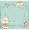 Vintage frame with air balloons vector