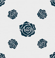 rose icon sign Seamless pattern with geometric vector image