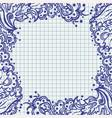 ballpen floral frame on school notebook paper vector image