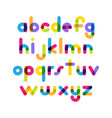 overlapping colorful rounded flat font letters vector image