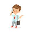 cute little boy businessman talking on smartphone vector image vector image