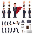 man in suit with mantle character creation set vector image vector image