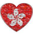 Flag of Hong Kong on a brick wall in heart shape vector image